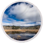 Cloud Above Dry Lagoon Round Beach Towel