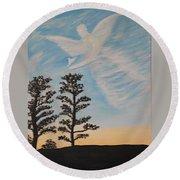 Cloud Angel In Acryics Round Beach Towel