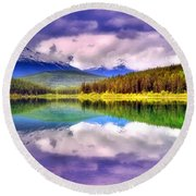 Cloud Cover On Lake Patricia Round Beach Towel