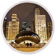Cloud Gate And Skyscrapers Round Beach Towel