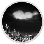 Cloud Over Seattle - Vertical Round Beach Towel