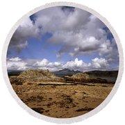 Cloud Passing Across The Cuillin Main Ridge And Bla Bheinn From Tokavaig Sleat Isle Of Skye Scotland Round Beach Towel