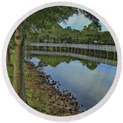 Cloud Reflection At The Pond Round Beach Towel