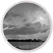 Cloud To Cloud Lake Lightning Strike In Bw Round Beach Towel