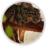 Clouded Leopard II Painted Version Round Beach Towel