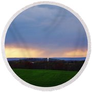 Clouded Sunset 2 Round Beach Towel