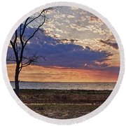 Clouding Up On Oyster Bay Round Beach Towel