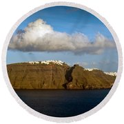 Clouds And Cliffs Round Beach Towel