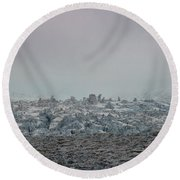 Clouds And Ice Round Beach Towel