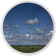 Clouds And Landscape In Alberta Canada Round Beach Towel