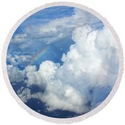 Clouds And Rainbow Round Beach Towel