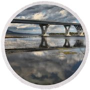 Clouds And Reflections Over Lake Champlain Round Beach Towel