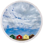 Clouds And Sheds Round Beach Towel