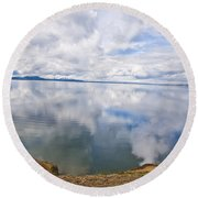 Clouds And Steam Round Beach Towel
