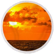 Clouds And Sun Play  Round Beach Towel