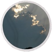 Clouds And Sun Rays Round Beach Towel