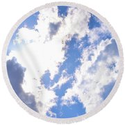 Clouds And Sunshine Round Beach Towel