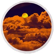 Clouds And The Moon Round Beach Towel