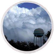 Clouds Around The Water Tower Round Beach Towel