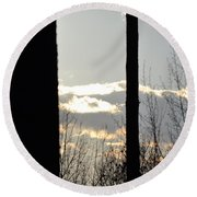 Clouds At Dusk II Round Beach Towel