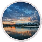 Clouds At Lower Sunset Lake Round Beach Towel