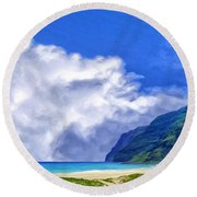 Clouds At Polihale Round Beach Towel