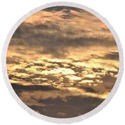 Clouds At Sunset Round Beach Towel