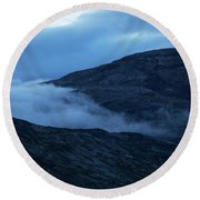 Clouds Cover The Mountains Of The Ice Round Beach Towel