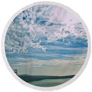 Clouds Dropping In Round Beach Towel