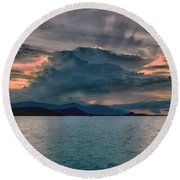 Clouds Explosion Round Beach Towel