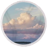 Clouds Glow In The Sky During Sunset Round Beach Towel