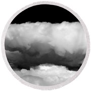 Clouds In Black And White Round Beach Towel