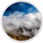 Clouds In Haleakala Round Beach Towel