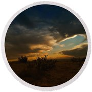 Clouds In New Mexico Round Beach Towel
