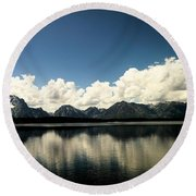 Clouds In The Grand Tetons Round Beach Towel