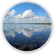 Clouds In The Lake Round Beach Towel