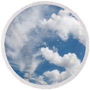 White Cirrus And Cumulus Clouds Formation Mix Round Beach Towel