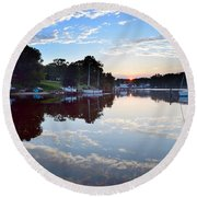 Clouds In The Water Round Beach Towel