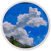 Clouds Loving A Friendly Mountain Landscape Painting Round Beach Towel