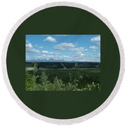 Clouds Mountains And Trees Round Beach Towel