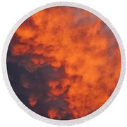 Clouds Of Fire Round Beach Towel