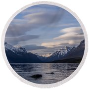 Clouds On The Lake Round Beach Towel