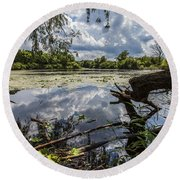Clouds On The Water Round Beach Towel