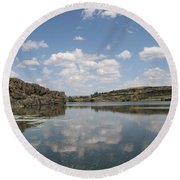 Clouds On Water Round Beach Towel