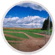 Clouds Over A Baseball Field, Field Round Beach Towel