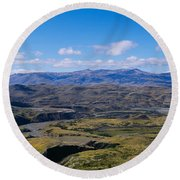 Clouds Over A Mountain Range, Torres Round Beach Towel