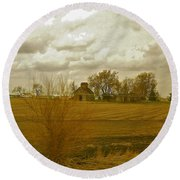 Clouds Over An Illinois Farm Round Beach Towel