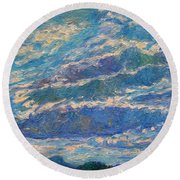 Clouds Over Buffalo Mountain Round Beach Towel