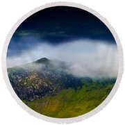 Clouds Over Bull Crag And Maiden Moor Round Beach Towel