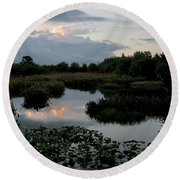 Clouds Over Green Cay Wetlands Round Beach Towel by Mark Newman